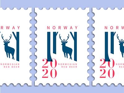 deer stamp character minimal typography branding illustration mascot norway deer logo animal stamp design stamp