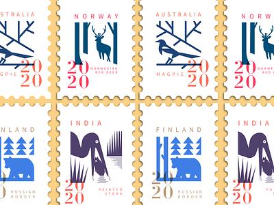 Stamp Colection 1 bear typography minimal character branding animal illustration mascot stamp design stamp logo