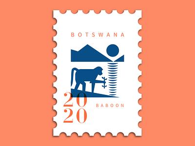 Baboon minimal character logo typography vector illustration mascot animal stamp monkey logo monkey baboon