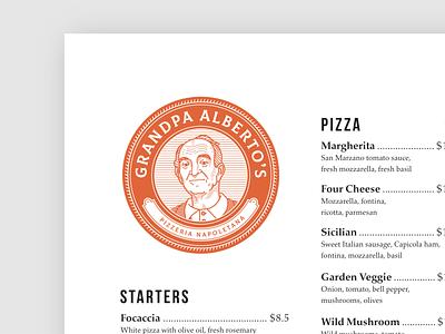 Grandpa Alberto's menu card branding symbol mascot vector character illustration menu design typography design logo