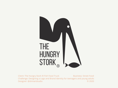 The Hungry Stork icon minimal branding typography vector character illustration mascot stork animal logo