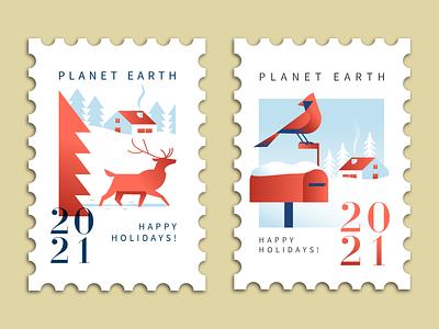 Happy Holiday Duo branding mascot vector animal typography holiday christmas card deer cardinal illustration seasonal stamp design stamp christmas