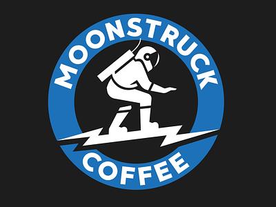 Moonstruck Coffee Logo Design design minimal character coffee shop coffeeshop coffee typography moon astronaut mascot illustration branding logo