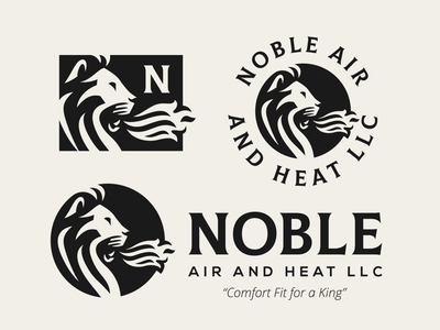 Noble Full Set hvac noble character minimal vector lion logo lion typography mascot illustration branding animal logo