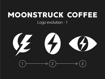 Moonstruck Logo Evolution 1 eye lightning coffee bean illustration vector character typography branding mascot coffee shop space astronaut logo