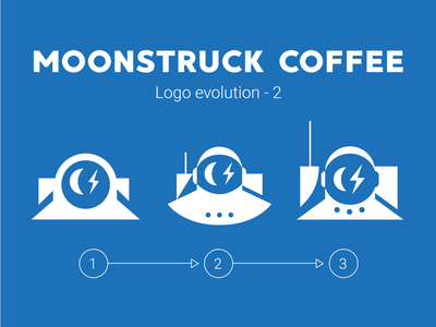 Moonstruck Logo Evolution 2 logo astronaut space coffee shop mascot branding typography character vector illustration coffee bean lightning eye
