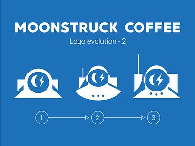 Moonstruck Logo Evolution 2 logo astronaut space coffee shop mascot branding typography character vector illustration coffee bean lightning eye