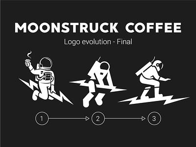 Moonstruck Logo Evolution - Final space surfing surf vector lightning character branding logo mascot illustration coffee shop astronaut