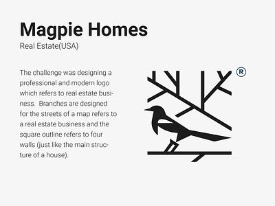 Logos with Stories - 2 real estate real estate logo bird illustration bird logo bird magpie minimal mark typography character mascot branding illustration animal logo