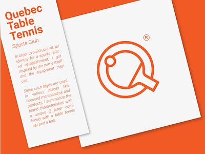 Quebec Table Tennis Club tennis illustration design letter q logo design tennis logo logo vector branding table tennis q lettermark