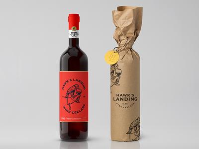 Hawk's Landing Branding 1 mark vector mascot winery wine bottle wine branding wine label wine illustration branding symbol design animal logo