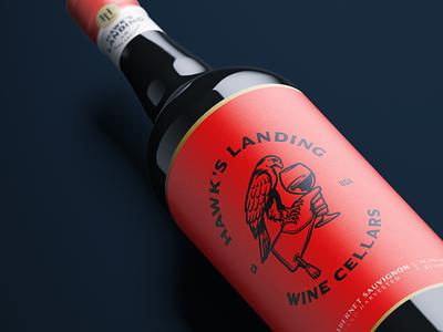 Hawk's Landing Branding 2 wine bottle bottle label bottle negativespace hawk symbol illustration winery wine typography print package design package packaging character branding mascot design animal logo