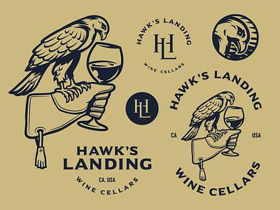 Hawk's Landing Team icon black winery vector wine typography bw character illustration branding mascot symbol design animal logo