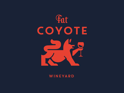 Fat Coyote wine label character illustration branding mascot symbol design animal logo concept winery wine coyote