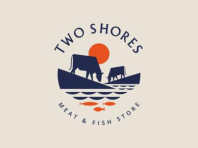 Two Shores Logo village sun fishes fish cow mark vector character illustration branding mascot symbol design animal logo