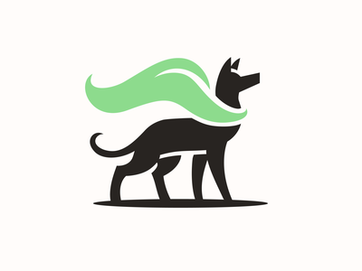 EcoDog Logo dog logo dog ecology leaf vector symbol illustration branding mascot design animal logo