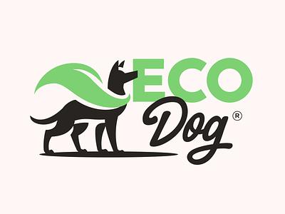 Eco Dog illustration typography mark symbol mascot branding character animal logo dog logo dogs dog