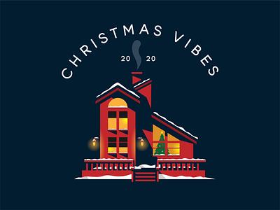 Christmas Vibes logo design christmas tree house illustration house home vector illustration christmas card christmas