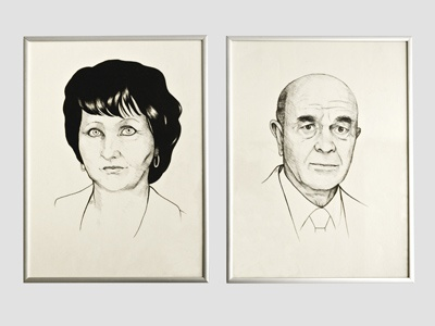 Portraits of aunt and grandpa illustration magenta potrait classic black and white