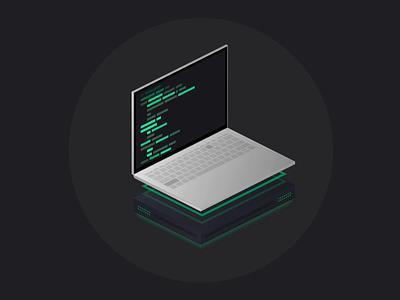 "Codus ""Autosave"" laptop illustration illustration web css laptop server code monochrome dark motion keyboard typing ui clean design gradient landing landing page animation minimal 3d"