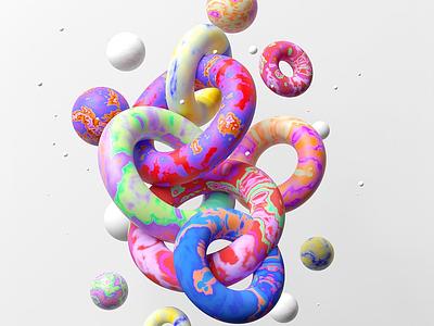 Tie-dye rings shapes tie dye redshift c4d 3d