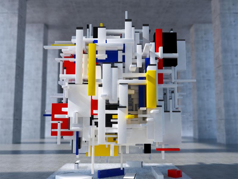 3d Piet Mondriaan By Rubenscheer On Dribbble