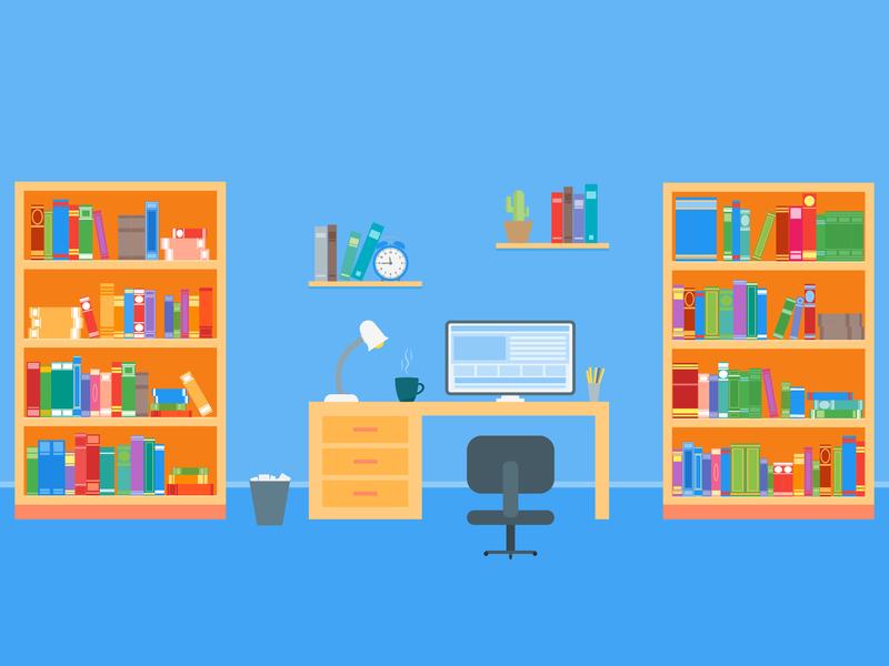 Workspace design work office freelance flat flat  design vector illustration