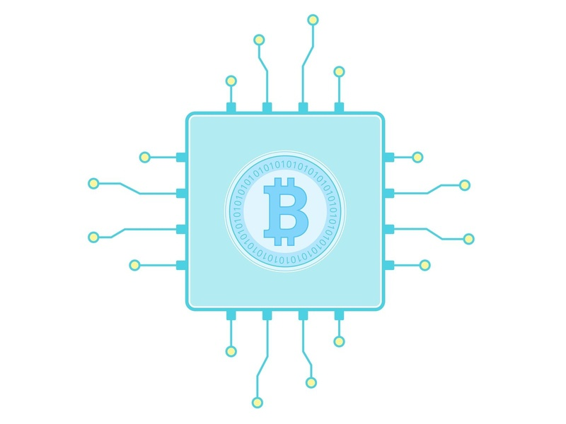 Bitcoin mining farm in a flat style shutterstock blockchain cryptocurrency technology mining bitcoin design flat  design flat vector illustration