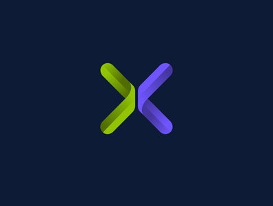 X arrow people logo centre people letter gradient minimalistic monogram