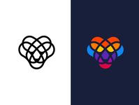 Lion kaleidoscope geometric poly colorful logo lion logo lion head lion