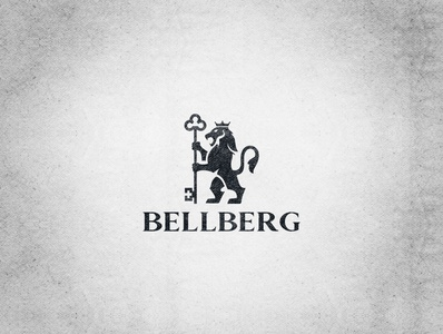 BELLBERG animal minimalistic black and white logodesign key crown king lion logo