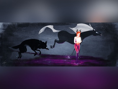 The Wanderers IV illustrator painting texture vector digital conceptual environment animal ideation space horse fairy tale design character design illustration