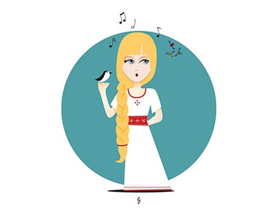 Ileana Cosânzeana clothing fashion character design design costume dress white red kids bird fairy tale illustration