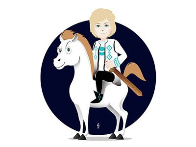 Harap Alb clothing fashion character design design costume toy white blue kids horse fairy tale illustration