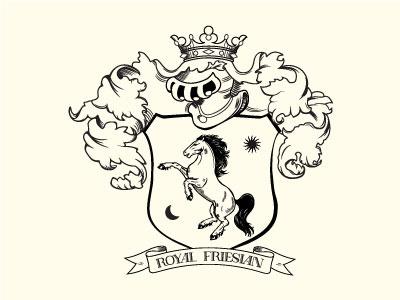 Royal Friesian gracious elegant helmet crown royal identity logo coat of arms stylish illustration crest horse