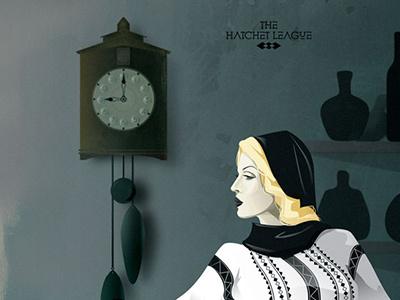 Anca creative beauty hair clock symbol folklore romanian traditional pattern woman drama illustration