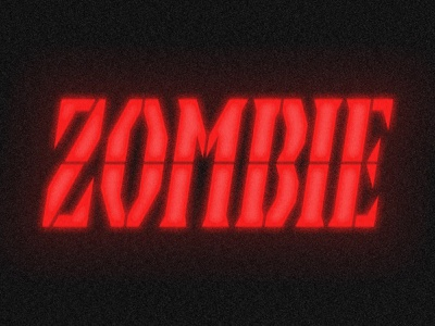 Zombie horror eek! ahh! scary spooky texture stencil grunge halloween red backlit light alarm clock alarm custom type typography type zombie