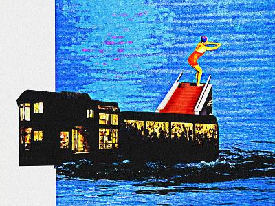 DRAG digital collage train boat water diver dive collage art collage single cover art album album cover cover music