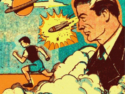 RUN! saturn cloud run space halftone vintage retro midcentury 50s 1950s digital collage scifi superhero collage comics comic