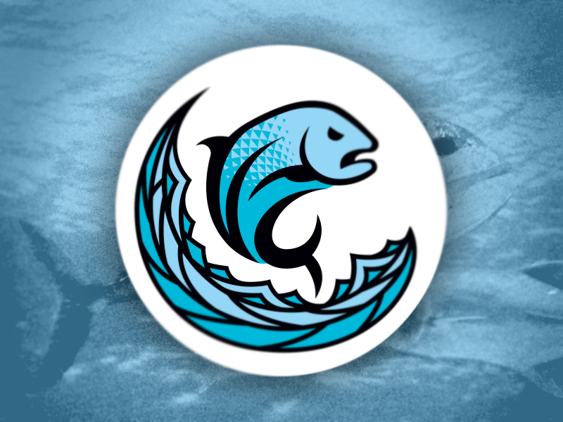 Ulua blue hawaii wave circle logo fish ulua