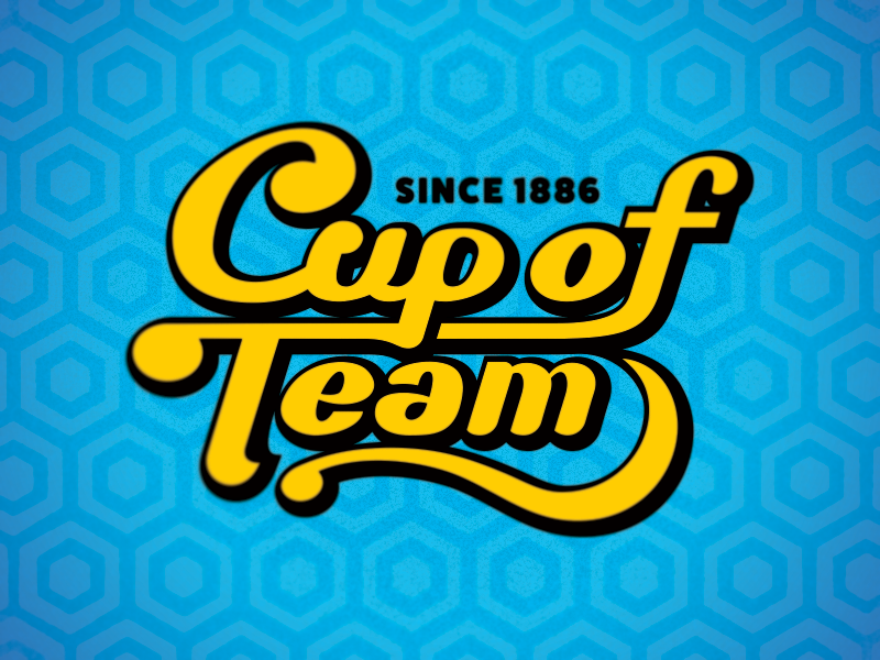 Cup of Team comedy youtube retro custom typography script logo cup of team