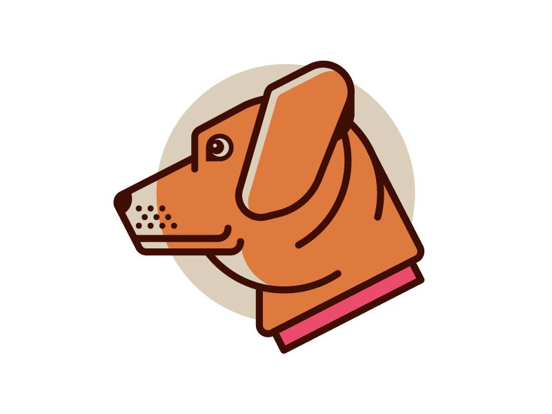 Dog line cute pet icon illustration dog