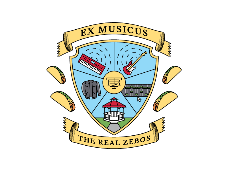 The Real Zebos - Ex Musicus jacket piano keyboard guitar tacos band music ribbon ex musicus monogram logo crest seal