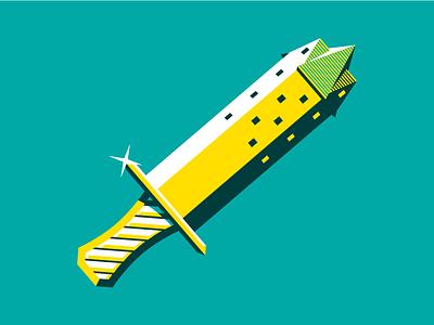 Dagger tower screen printing nebraska omaha screen print illustration handle sword knife dagger