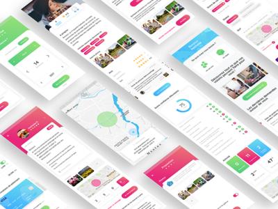 Allovoisins App social filters post profil allovoisins map design app