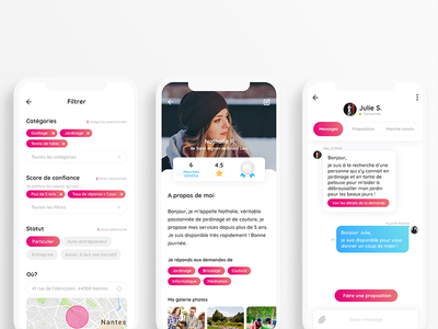Profil & social screens - Allovoisins iphone ux ui design app map chat allovoisins social profil filter message