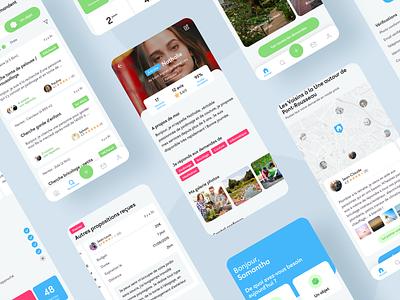 Allovoisins app - Sharing economy cards navbar description accessibility ux ui design colors profil map app
