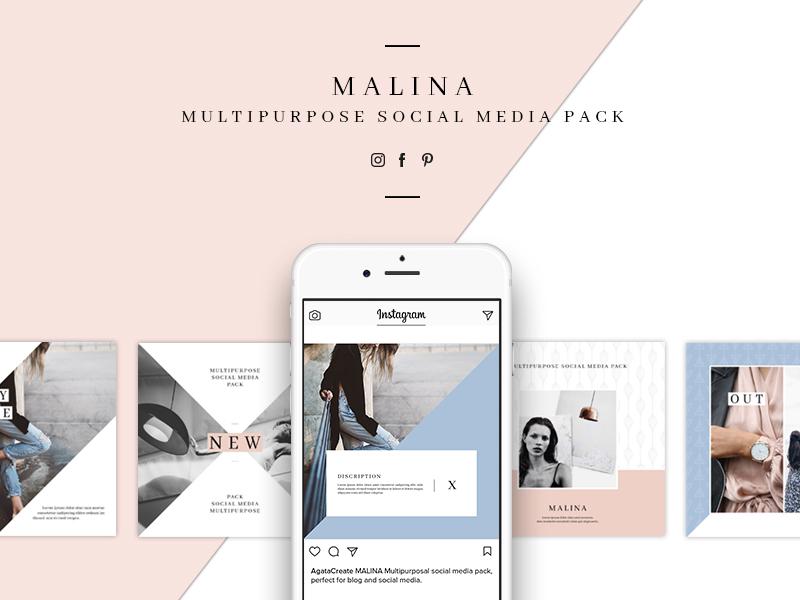 MALINA Social Media Pack & 20 Pattern blog post template pinterest facebook instagram feminine marketing digitalmarketing socialmedia media social