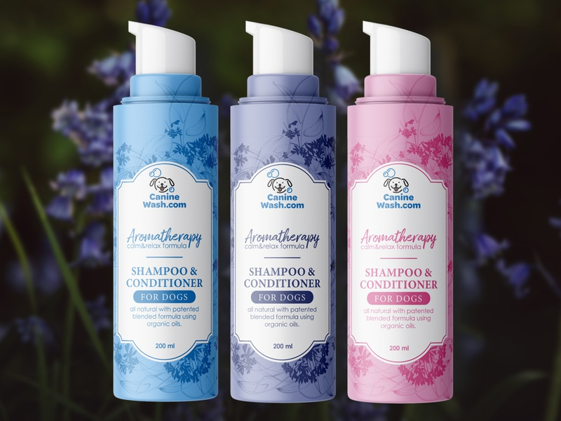 Canine Wash shampoo label design