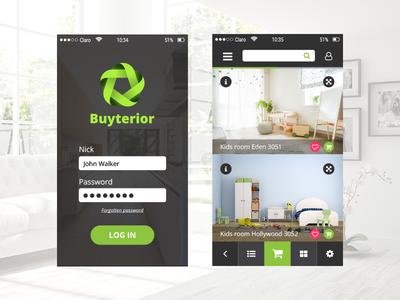 Design of app buy interior buy green graphic app interior design of app ui design